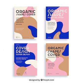 Colección de plantillas de portada con formas orgánicas