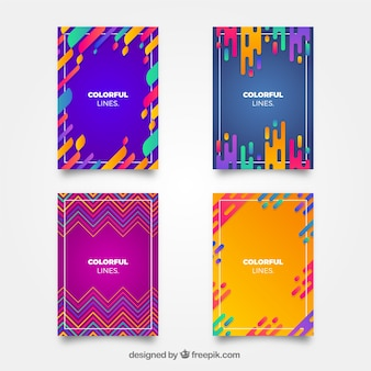 Colección de plantillas de portada con líneas coloridas