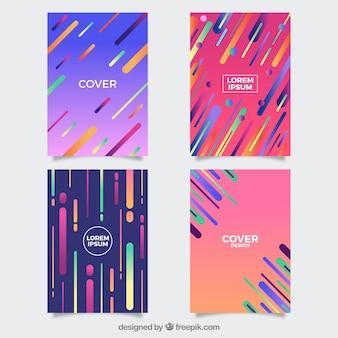Colección de plantillas de portadas con estilo geométrico