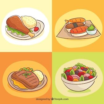 Colección de platos con comida deliciosa