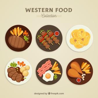 Colección de platos de comida vistos desde arriba