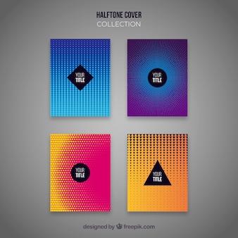 Colección de portadas abstractas con patrones de puntos