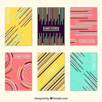 Colección de portadas con colores y líneas