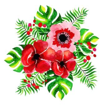 Colección de ramos de flores de acuarela