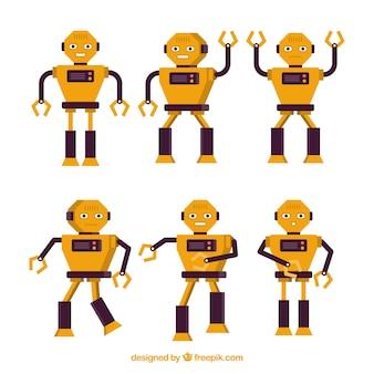 Colección de robots planos con diferentes poses