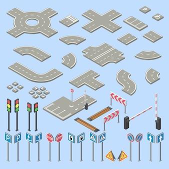 Colección de señales de tráfico isométrica 3d, pedazos de la calle, carretera