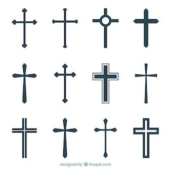 Colección de siluetas de cruces cristianas