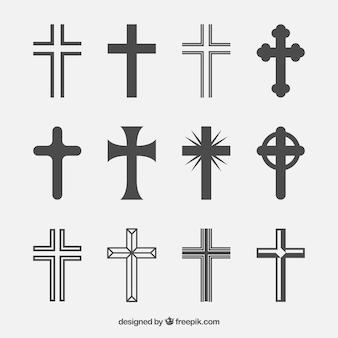 Colección de siluetas de cruz cristiana