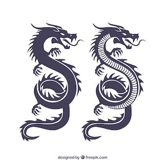 Colección de siluetas de dragones tradicionales chinos
