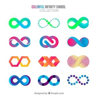 Colección de símbolos de infinito coloridos