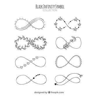 Colección de símbolos del infinito en color negro