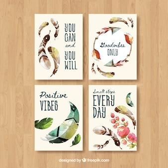 Colección de tarjetas boho con plumas