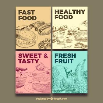 Colección de tarjetas con comida rápida