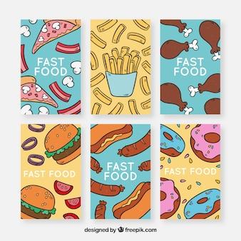 Colección de tarjetas con comida
