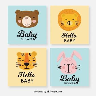 Colección de tarjetas de bebé con lindos elementos