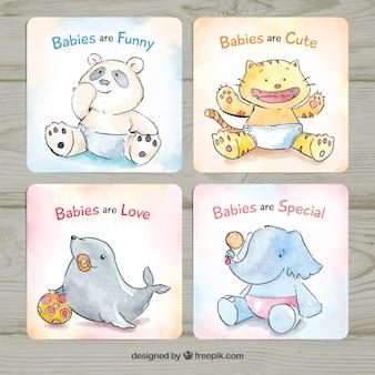 Colección de tarjetas de bebé en estilo acuarela