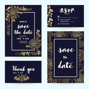 Colección de tarjetas de boda azules con detalles dorados