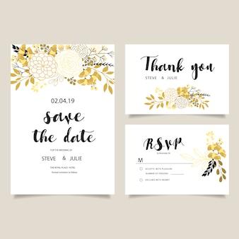 Colección de tarjetas de boda blancas con flores doradas