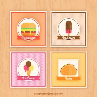 Colección de tarjetas de comida con diseño plano