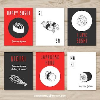 Colección de tarjetas de comida con sushi