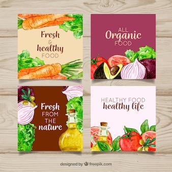 Colección de tarjetas de comida con vegetales
