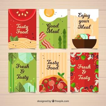 Colección de tarjetas de comida deliciosa