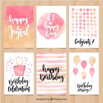 Colección de tarjetas de cumpleaños abstractas de acuarela