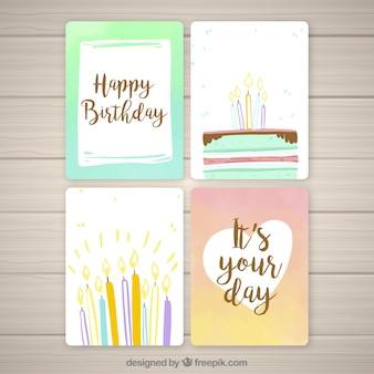 Colección de tarjetas de cumpleaños con velas