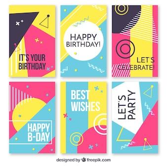 Colección de tarjetas de feliz cumpleaños en estilo plano