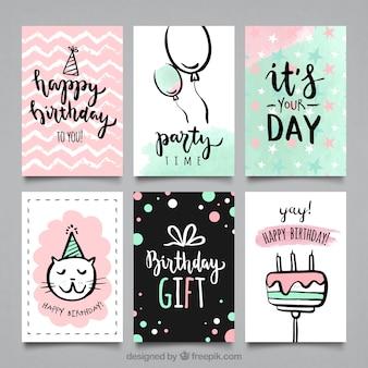 Colección de tarjetas de fiesta de cumpleaños en acuarela