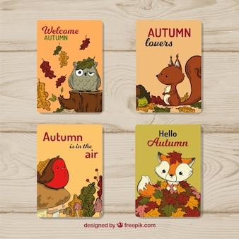 Colección de tarjetas de otoño con animales