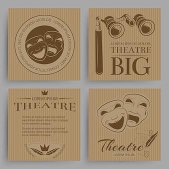 Colección de tarjetas de teatro vintage con símbolos de teatro