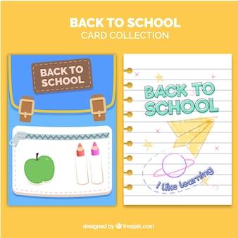 Colección de tarjetas de vuelta al colegio con diseño plano