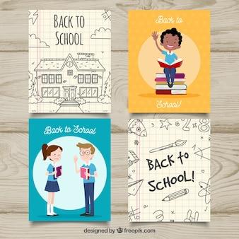 Colección de tarjetas de vuelta al colegio dibujadas a mano