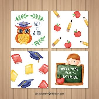 Colección de tarjetas de vuelta al colegio en acuarela