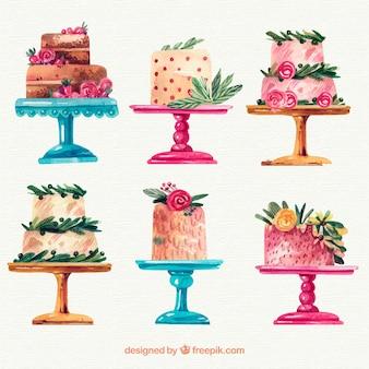 Colección de tartas de acuarela