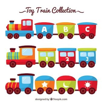 Colección de trenes de juguete planos
