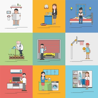 Colección de vectores de actividades diarias de personas