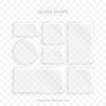 Colección de vidrio con formas diferentes