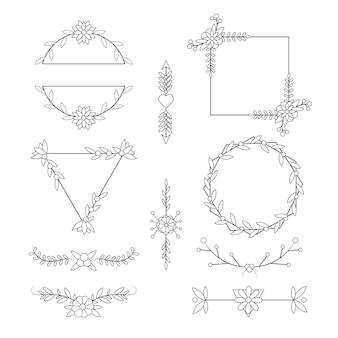 Colección de decoración de boda plana lineal