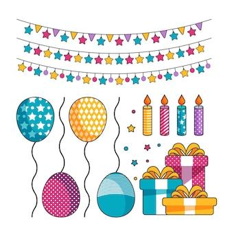 Colección de decoración de cumpleaños de diseño plano