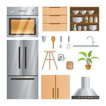 Colección de decoración de habitaciones de cocina con diseño degradado.