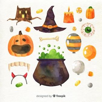 Colección de decoración de halloween en acuarela