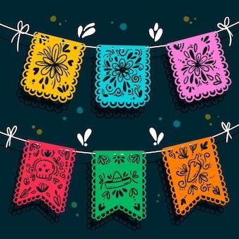 Colección de decoración mexicana plana cinco de mayo