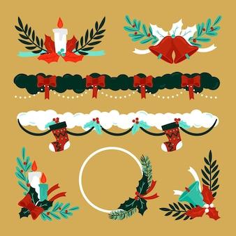 Colección de decoración navideña dibujada a mano