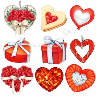 Colección de decoraciones de san valentín rojas en acuarela