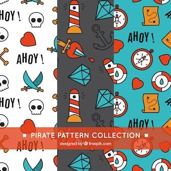 Colección de decorativos patrones de pirata