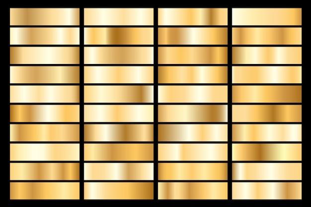 Colección de degradado metálico dorado. platos brillantes con efecto dorado.