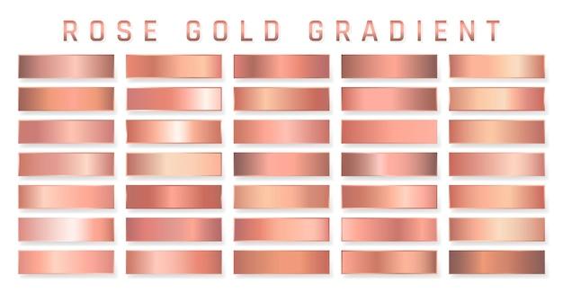 Colección de degradado metálico de oro rosa. platos brillantes con efecto dorado.