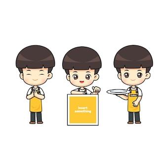 Colección de delantal de ropa de camarero lindo en concepto de cafetería en muchas acciones, personaje de dibujos animados de mascota kawaii para ilustración